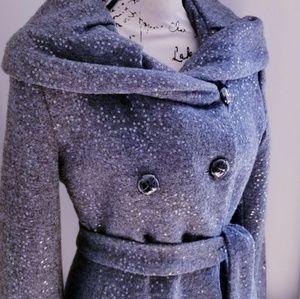 Calvin Klein NWOT Grey Wool Sequined Coat
